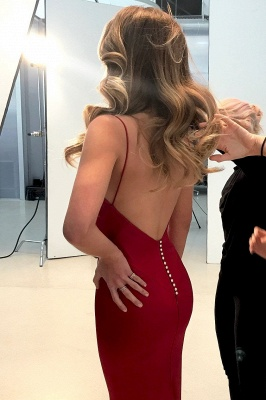 Sexy Spaghettis Straps Long Evening Dresses | Sleeveless V-Neck Prom Dresses_3