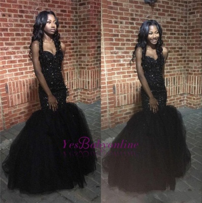 Sequins Amazing Sweetheart Black Beaded Mermaid Puffy Tulle Prom Dress_1