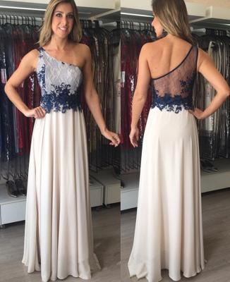 Applique Elegant Sleeveless Floor-Length  One-Shoulder Prom Dresses_2