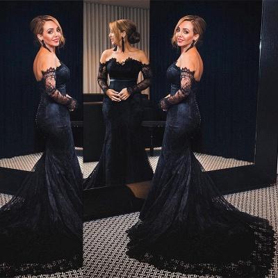 Elegant Lace Mermaid Prom Dresses Off-the-Shoulder Mermaid Formal Dresses_3