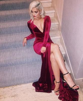 Deep-V-Neck Long-Sleeves Side-Slit Velvet Sexy Prom Dress_2
