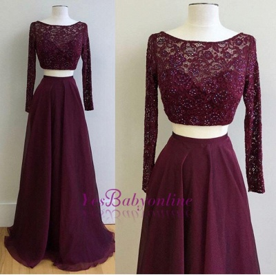 2019 Two-Piece Prom Dresses Maroon Long Sleeves Lace Beading A-line Evening Gowns_1