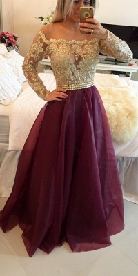 2019 Burgundy and Gold Long Sleeves Lace-Appliques A-line Prom Dresses_3