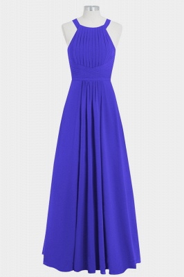 A Line Chiffon Round Neck Hollow out Floor Length Bridesmaid Dresses with Ruffles_1
