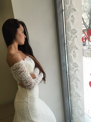 Mermaid Off-the-shoulder Stylish Lace Sweep Train Long Sleeves Wedding Dress_4