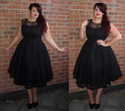 Black Cap-Sleeve Jewel Newest Plus-Size Tea-Length Prom Dress_3