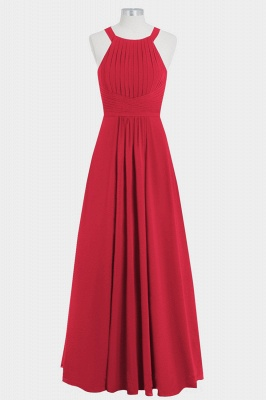 A Line Chiffon Round Neck Hollow out Floor Length Bridesmaid Dresses with Ruffles_3