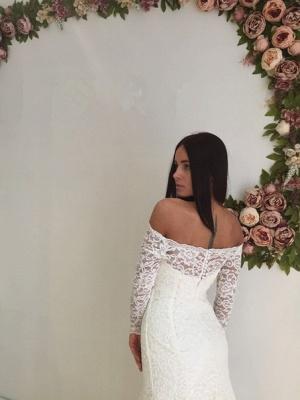 Mermaid Off-the-shoulder Stylish Lace Sweep Train Long Sleeves Wedding Dress_5