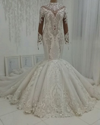 High Neck Crystal Wedding Dresses | Mermaid Bridal Gowns with Long Sleeves_2