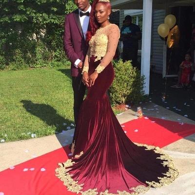 Burgundy Velvet Appliques Long-Sleeve Gorgeous Prom Dress_2