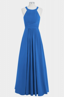 A Line Chiffon Round Neck Hollow out Floor Length Bridesmaid Dresses with Ruffles_4
