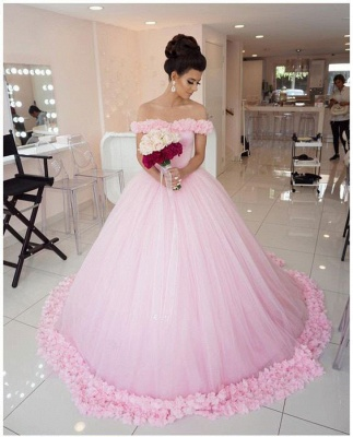 Chic Off-The-Shoulder Ball Gown Prom Dresses with Flowers | Stylish Quinceanera Dresses_4