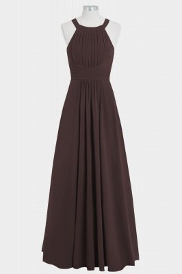 A Line Chiffon Round Neck Hollow out Floor Length Bridesmaid Dresses with Ruffles_2