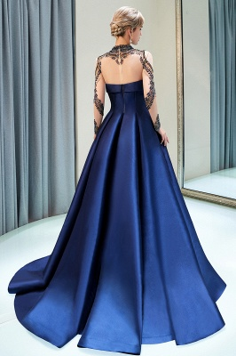 A-Line  Satin High Neckline Beaded Long Sleeve Prom Dress | Evening Gown 2019_3
