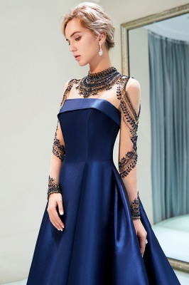 A-Line  Satin High Neckline Beaded Long Sleeve Prom Dress | Evening Gown 2019_4