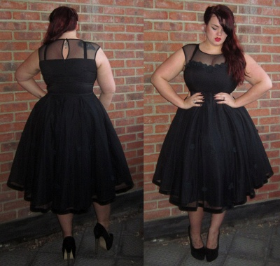 Black Cap-Sleeve Jewel Newest Plus-Size Tea-Length Prom Dress_4