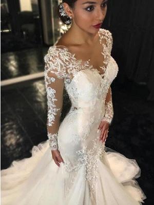Long-Sleeves V-Neck Mermaid Beaded Sexy Sheer Lace Wedding Dresses_2