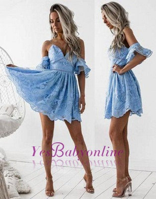 Lace A-line Cute V-neck Blue Short Cocktial Dress_1