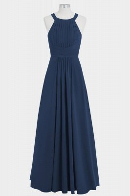 A Line Chiffon Round Neck Hollow out Floor Length Bridesmaid Dresses with Ruffles_5
