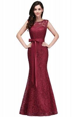 Lace Sleeveless Mermaid Bowknot-Sash Floor-Length Burgundy Prom Dresses_2