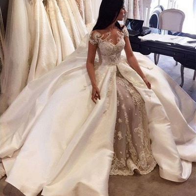 Charming Ball Gown Wedding Dresses | Short Sleeves Appliques Bridal Gowns  with Overskirt_4