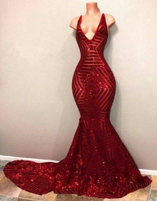 V-Neck Mermaid Shiny Red Long Sequins Prom Dresses_2