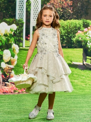 A-Line Lace Jewel Sleeveless Flower Girl Dress with Appliques