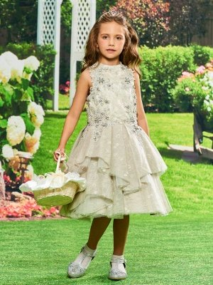 Cute A-Line Lace Jewel Sleeveless Flower Girl Dress with Appliques_1
