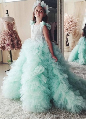 Beautiful Mint Green Ruffles Flower Girls Dresses | Puffy First Communion Dresses with Bow_1