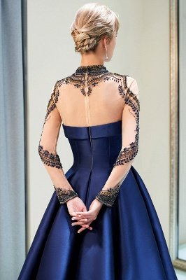 A-Line  Satin High Neckline Beaded Long Sleeve Prom Dress | Evening Gown 2019_5