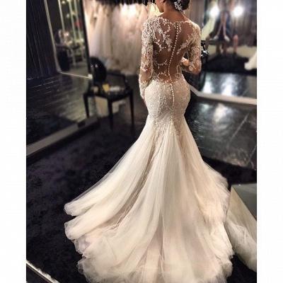 Long-Sleeves V-Neck Mermaid Beaded Sexy Sheer Lace Wedding Dresses_4