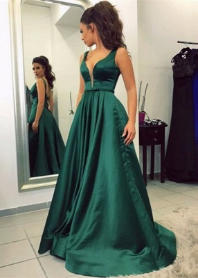 Sleeveless V-neck Backless A-line Green Newest Prom Dress_2