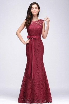 Lace Sleeveless Mermaid Bowknot-Sash Floor-Length Burgundy Prom Dresses_6