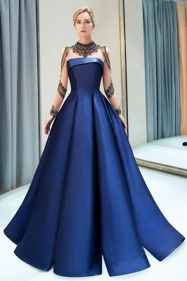 A-Line  Satin High Neckline Beaded Long Sleeve Prom Dress | Evening Gown 2019_2