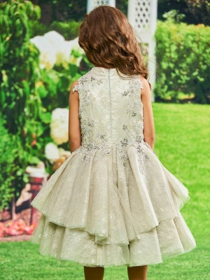 Cute A-Line Lace Jewel Sleeveless Flower Girl Dress with Appliques_3