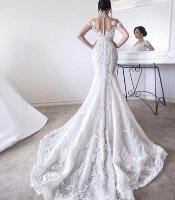 Charming Ball Gown Wedding Dresses | Short Sleeves Appliques Bridal Gowns  with Overskirt_3