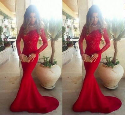 the Lace Evening Long Sleeves Shoulder Red Gowns Mermaid Long Off 2019 Sexy Prom Dresses_3