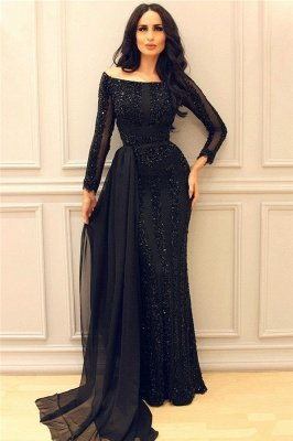Long Sleeve Black Beaded Sequin Evening Dresses | Chiffon Train Sheath Sexy Cheap Prom Dresses_1