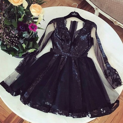 Sexy A-Line Homecoming Dresses | V-Neck Long Sleeves Sequins Cocktail Dresses_3