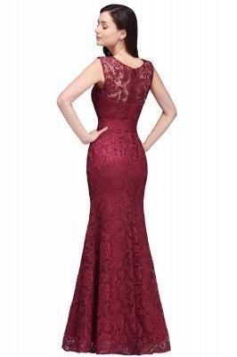 Lace Sleeveless Mermaid Bowknot-Sash Floor-Length Burgundy Prom Dresses_5