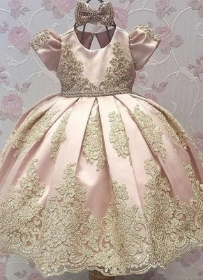 Lovely Sweet Appliques Flower Girl Dresses | Girl's First Communication Dresses With Bowknots_1