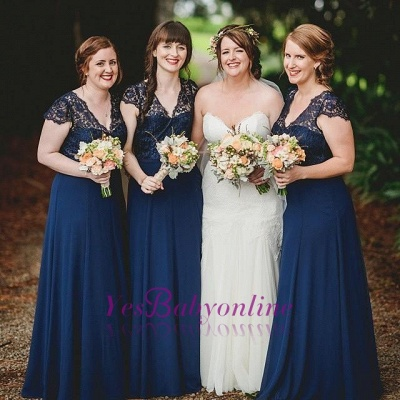 Romance Long Blue Lace Chiffon Navy Bridesmaid Dresses_1