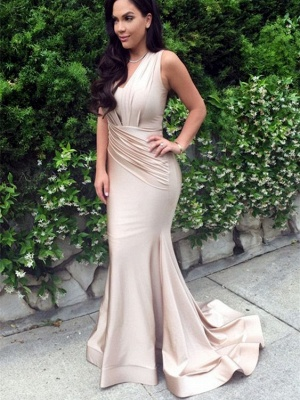 Long Mermaid Ruched V-Neck Sleeveless Sexy Prom Dresses_2