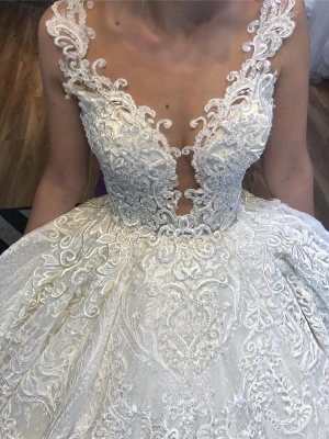 Princess Straps Jewel Lace Ball Gown Wedding Dresses |  Beaded Bridal Gown_3
