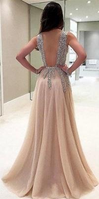 Glittering Champagne Prom Dresses | Crystals V-Neck Slit A-Line Evening Gowns_4
