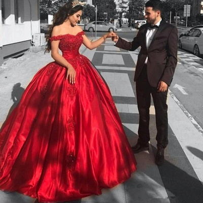 Red Off-the-Shoulder Prom Dresses | Ball-Gown Lace Evening Dresses_3