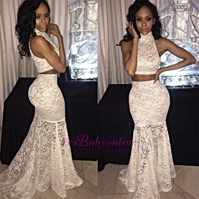 Two-Piece Sweep-Train Mermaid Lace Sexy High-Neck Sleeveless Prom Dress_1