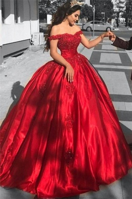 Red Off-the-Shoulder Prom Dresses | Ball-Gown Lace Evening Dresses_2