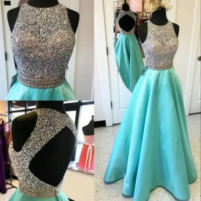 Elegant A-line Prom Dresses Beading Open Back Long Evening Gowns_3