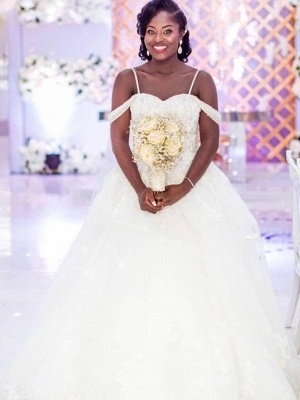 Charming Ball Gown Wedding Dresses | Cold Shoulder Beaded Bridal Gowns_1